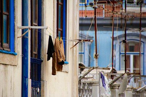 Clothes Line, Laundry, Blue, Backyard, Close, Nostalgia