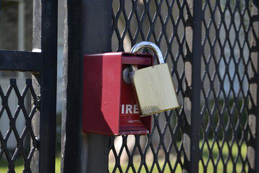 Lock, Red, Gate, Safety, Protection, Safe, Door