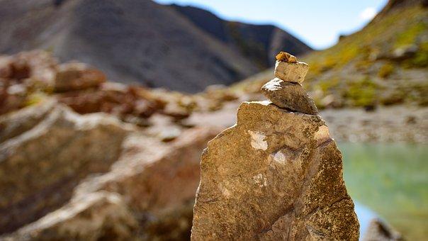 Cairn, Lake, Mountain, Mound Of Stones, Pile Of Stones
