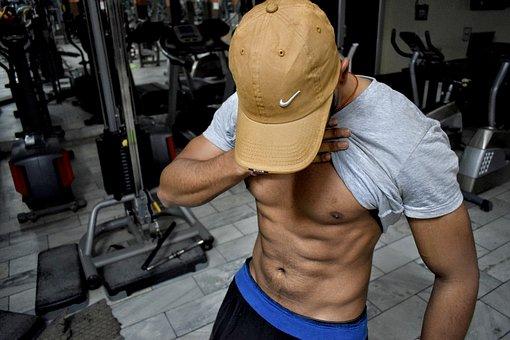 Abs, Cap, Indoor, Biceps, Caucasian, Shirtless, People