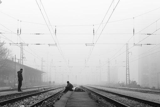 Waiting, Train, Road, Rail, People, Drunk, Black, White