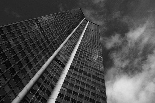 Tower, Photo Black White, Image, Capitals, Glass Tower