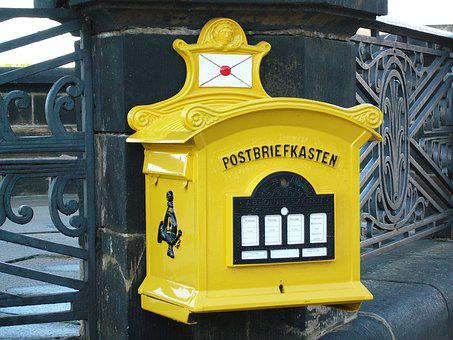 Old, Yellow, Post Mail Box