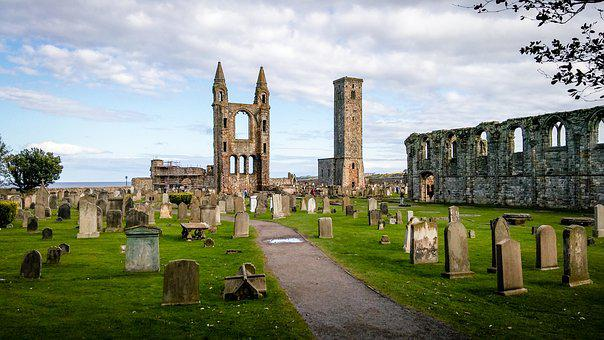 Scotland, St Andrews, Clouds, Sky, Cathedral