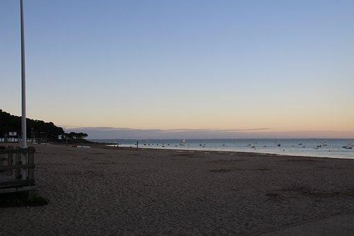 Beach, Noirmoutier, Boat, Sand, Couple, Sun, Ocean, Sky