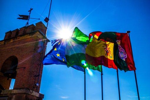 Flags, Spain, Eu, Portugal, Europe, Spanish, Waving