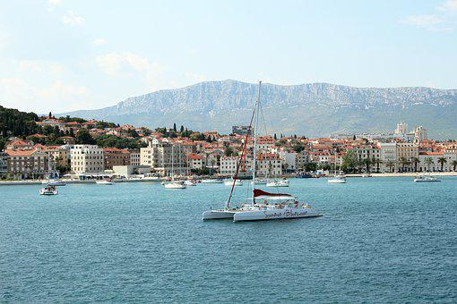 Split, Adriatic Sea, Adriatic, Croatia, Catamaran