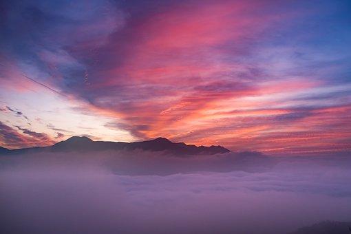 Japan, Kumamoto, Morning Glow, Aso, Pink, Asahi
