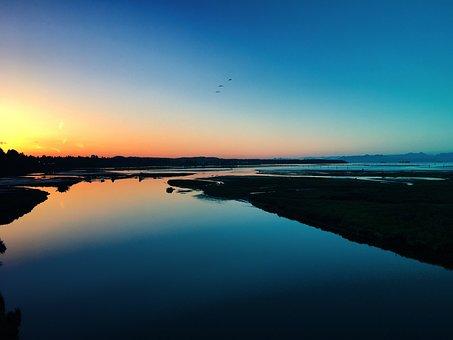 Sunset, Sunsets, Ocean, Nanaimo, Bbc, British Columbia