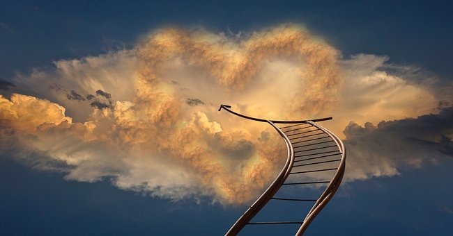 Heart, Head, Beyond, Clouds, Sky, Jacob's Ladder, God