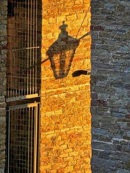 Shadow, Replacement Lamp, Lantern, Lamppost, Brick