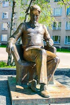 Scientist, Monument, Bronze, Obninsk, Russia, Kurchatov