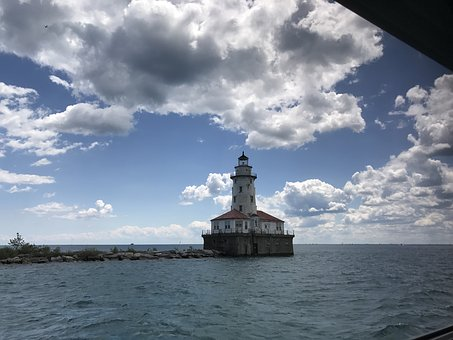 Chicago, Navy Pier, Lighthouse, Clouds, Lake, Scene