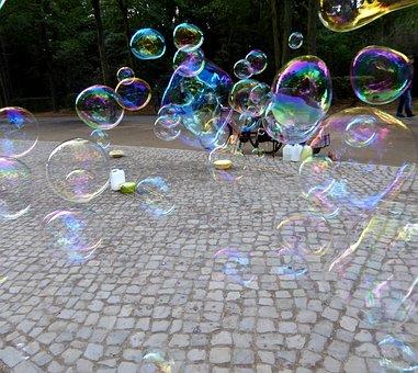 Soap Bubbles, Blow, Colorful, Iridescent, Float, Ease