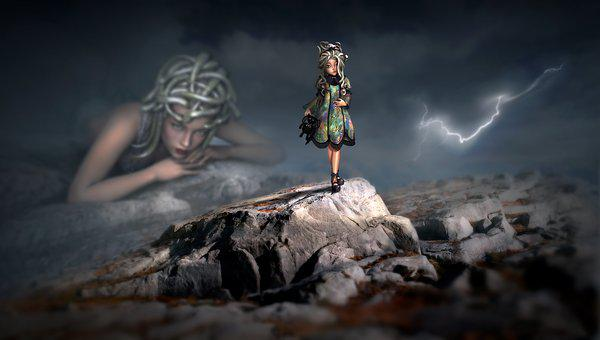Fantasy, Girl, Medusa, Daughter, Landscape, Rock
