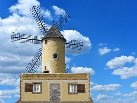 Windmill, Mill, Sky, Dutch Windmill, Grind, Wing, Turn