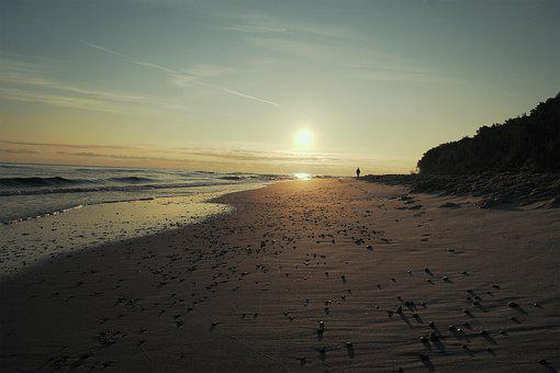 Beach, Sunrise, The Baltic Sea, Sea, Landscape, Nature