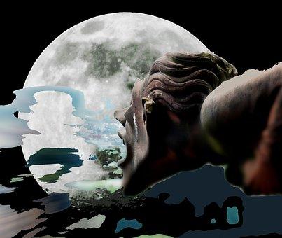 Full Moon, Gargoyle, Sand Stone, Decoration, Ornament