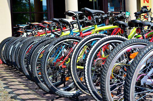 Bicycles, Color, Tires, Patterns, Wheels, Row Of Bikes