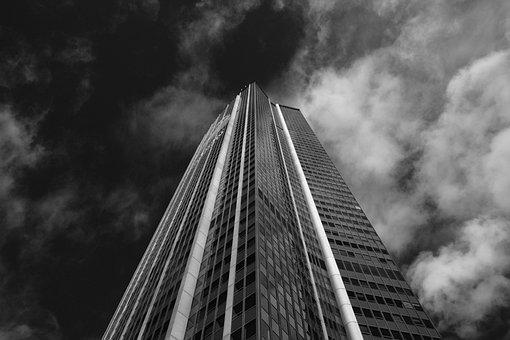 Montparnasse Tower, Photo Black White, Cloudy Sky
