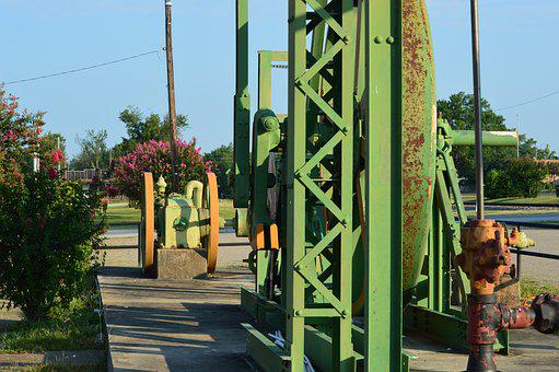 Pumpjack, Oil, Derrick, Downtown, Green, Orange