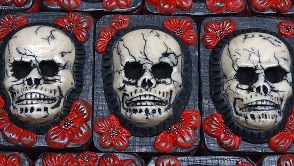 Skulls, Hand Made Art Soap, Halloween, Black, Red