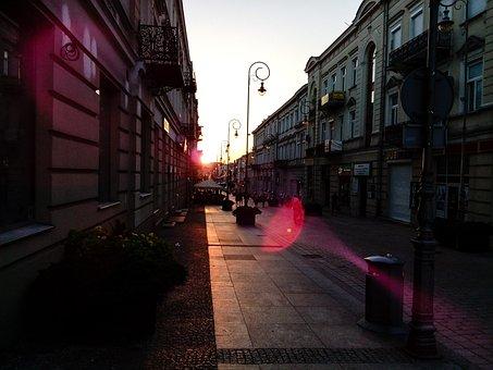 City, Street, Sunset, Kielce, Sienkiewicz
