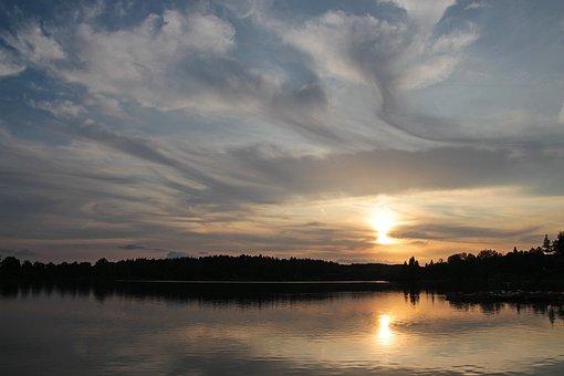 Evening Sun, Losheimer Reservoir, Evening Sky, Sunlight