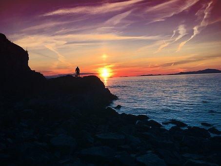 Sunset, Sunsets, Orange Sky, Purple Sky, Ocean