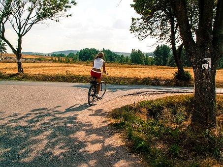 Way, Bike, Girl, Woman, Swietokrzyskie Mountains