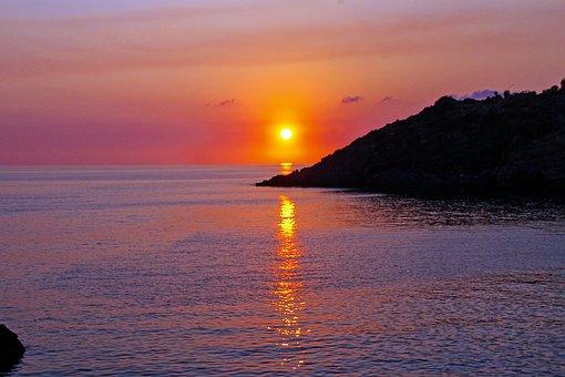 Sunset, Sea, Tyrrhenian Sea Italy, Red Sky At Night