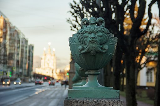 St Petersburg Russia, Spb, Fence, Vase, Flowerpot, Road