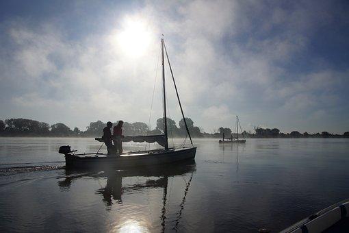 Weser, Morning Mist, Sailing Boat, Morning Haze, Mood