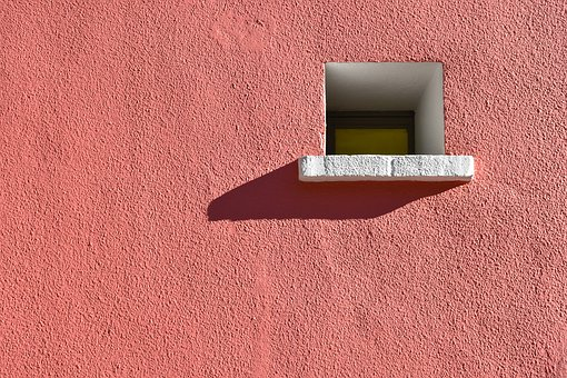 Window, Wall, Picturesque, Pink, White, Original