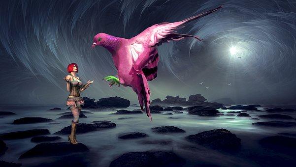 Fantasy, Woman, Dove, Bird, Mystical, Female