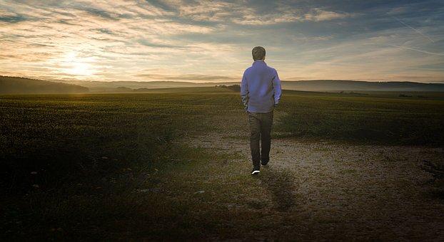Alone, Boy, Young, Person, Male, Sun, Light, Field