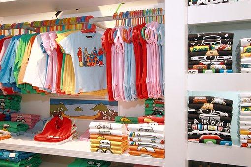 Fashion, Clothes Shop, Child, Trade, T-shirt, Pants