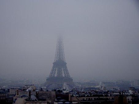 Eiffel Tower, Fog, Snow, Landscape, Winter, Walk