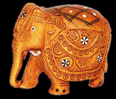 Elephant, India, Figure, Wood, Carved, Souvenir, Deco
