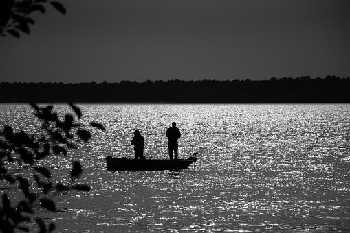Angler, Fish, Water, Fischer, Fishing, Sunset, Mood
