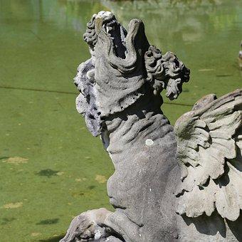 Fountain, Gargoyle, Figure, Water Feature