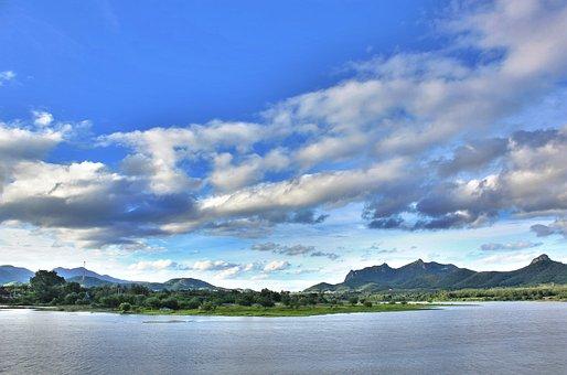 Sky, Lagoon, Mountain, Sun, Nature, Travel, Landscape