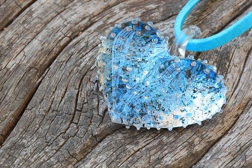 Heart, Blue, Glass, Art, Wood, Love, Symbol, Day, Shape