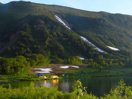Mountains, Lake, Tourist Camp, Tents, Summer, Snow
