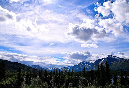 Sky, Mountains, Norway, Nordland, Clouds, Landscape