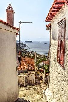 Greece, Skopelos, Glossa, Village, Street, Alley