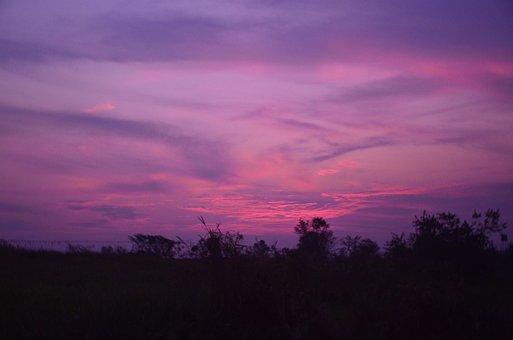 Sunset, Purple, Sky, Evening, Dramatic, Colorful