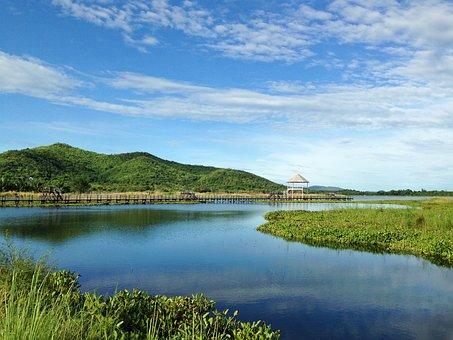 Lagoon, Water, Sky, Bridge, Walk Way, Vacation, Travel