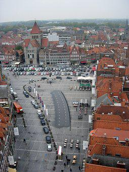 Tournai, Belgium, View From Above, Grand-place, Belfry