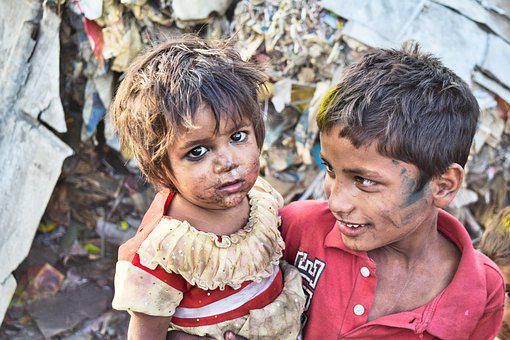 Girl, Boy, Sister, Brother, Poor, Slums, India, Child